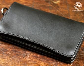 "Medium Midnight Black Trucker Wallet ""Concealed"", Hand Stitched, Full-Grain Vegetable Tanned Shoulder Leather, Biker Wallet"