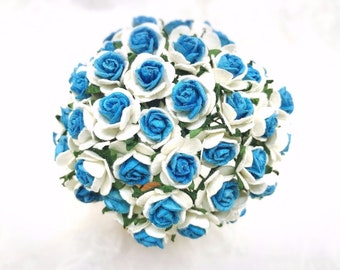 50 pcs. white blue Rose Mulberry Paper Flower Craft Handmade Wedding 15 mm Scrapbook #865