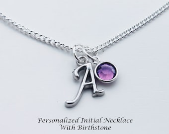 Personalized Initial Necklace With Birthstone.  Birthstone Necklace. Initial Necklace. Personalized. Gift. Unique Gift. Personalized Gift.