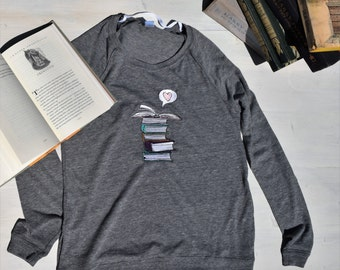 Bibliophile Book Lover Pullover, Embroidered Hipster Book Sweater, Book Shirt, Reading Shirt, Librarian Gifts