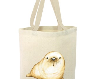 Heavy Duty Canvas Tote Bag - Walrus, Baby Walrus Tote Bag, Beach Tote Bag,The Toad's Totes,Reusable Tote, Project Bag