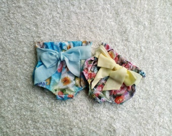 High waisted bloomers / paperwaist bloomers / nappy covers / bloomers / muslin bow / soft material