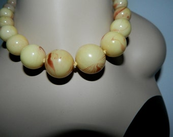 Vintage 1960s Chunky Marbled Plastic Adjustible Necklace Made in Japan
