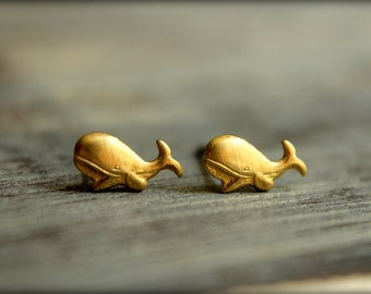 Whale Earring Studs, Available in Raw Brass or Silver Plated Brass, Stainless Steel Posts