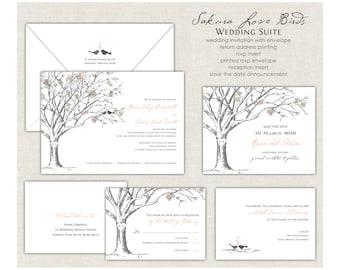 Love Birds Wedding Invitation, Peach Wedding Invite, Elegant Cherry Blossom Tree, Tree Wedding Invites, Elegant Wedding, Romantic
