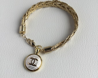 Designer Button Charm Bracelet by Designer Therapy, mother's day, gold bracelet