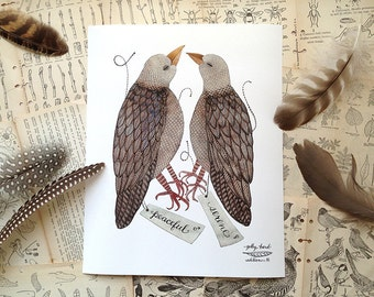 Mourning Dove Specimens Print, giclee art print, bird art, watercolor reproduction