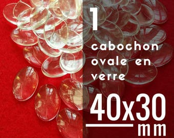 1 cabochon clear oval - 30 x 40 mm - 3 x 4 cm