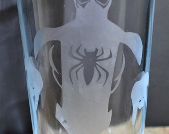 Hand Etched Tumbler Drinking Glass: Spiderman A Superhero Must Have!!