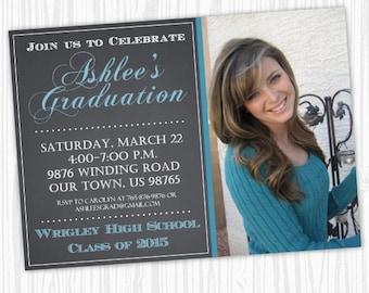 Printable Graduation Announcement Design, Chalkboard Graduation Invite, Grad Invitation, CUSTOM, 4x6 or 5x7 photo card - YOU PRINT