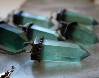Aqua Fluorite Crystal Tower Necklace // Large Sea Green Fluorite Crystal Point Necklace