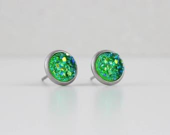 Shamrock Green Druzy Crystal Earrings   ATL-E-156