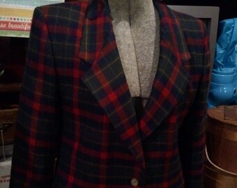 Vintage Hipster Preppy 80s Collection Ladies Red Plaid Jacket size 8 free domestic shipping