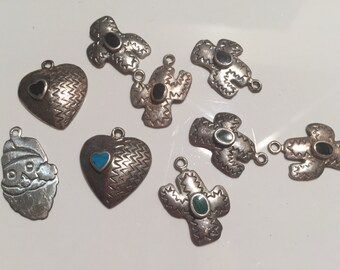 Vintage Charms,Sterling Silver Charms,Silver Jewelry Parts,Vintage Silver Finding,Gem Stone Charms....