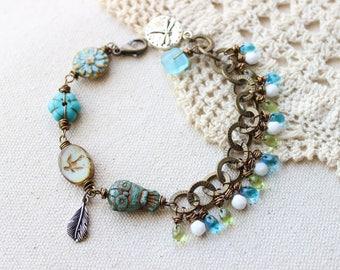 Birds of flight~ Czech glass dangles bracelet, Czech glass jewelry, boho beaded bracelet, owl charm bracelet, glass beaded bracelet