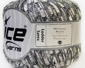 Ice Ladder Lurex Yarn Silver and black 50gr