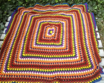 """Hippie Crocet knitted Bright geometric Throw Blanket 52""""X52"""""""