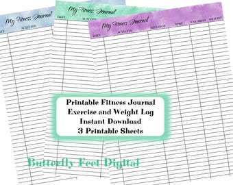 Printable Fitness Journal,  Weight Loss and Exercise Log, Watercolor Banner, 3 Printable Sheets, Instant Download