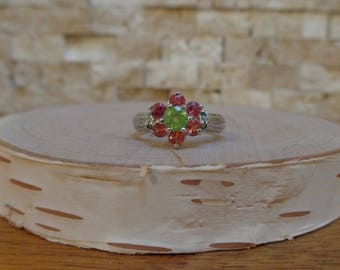 Peridot, Chrome Diopside and Orange Garnet ring in Sterling Silver, Size 5 1/2