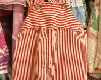 60s Candy Stripe Overalls 9/12 Months