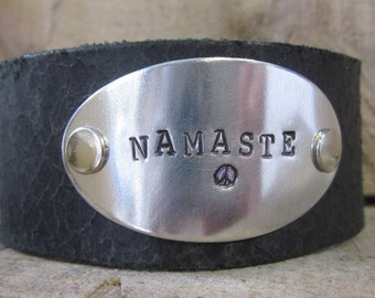 Hand Stamped Leather cuff bracelets