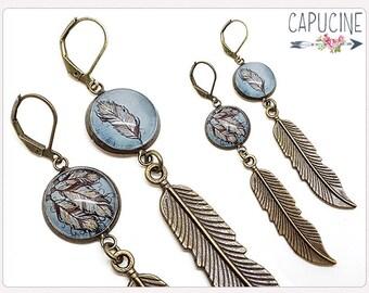 Dreamcatcher earrings - Chandelier earrings - Feathers earrings - Glass dome feathers earrings