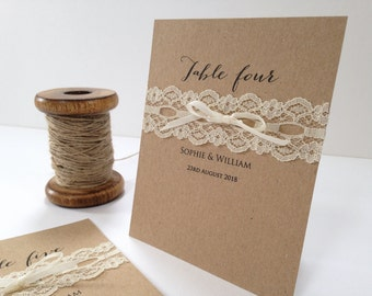 Rustic Lace, Table Numbers, Table Names, Lace Table Numbers, Kraft Table numbers, Kraft Table Names,