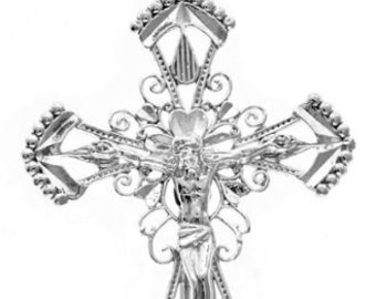 Solid .925 Sterling Silver Crucifix (MADE IN USA)
