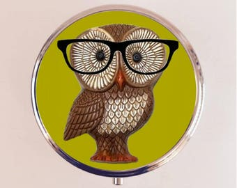 Owl Nerd Pill Box Case Pillbox Holder Trinket Stash Box Hipster Glasses Anthropomorphic Animal Pop Art