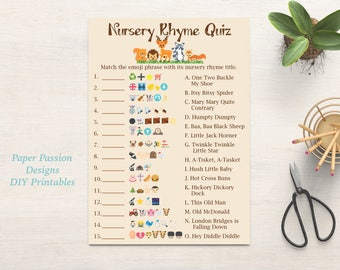 Nursery Rhyme Quiz Emoji Pictionary printable game Gold baby