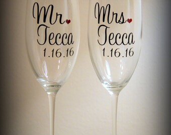 personalized mr and mrs toasting glasses... perfect gift for the newly engaged couple or for the wedding toast!