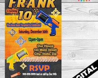DIGITAL Dart Gun Party invitation