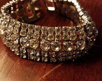 GORGEOUS One-inch Wide Rhinestone Bracelet