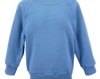 Light Blue Sweatshirt, cotton/polyester, raglan sleeves, soft brushed inside for warmth and comfort.  Made in England.  6 childs sizes. W10