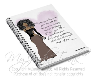 Free Is The Title   Fashion Illustration Spiral Notebook Black Woman Afro Art Natural Hair Art