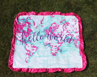 World map blanket etsy world map blanket crib bedding minky plush blankets hello world gumiabroncs Images