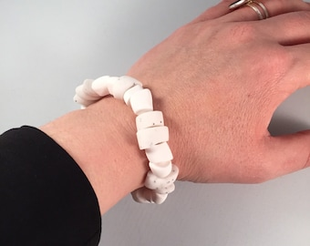 White chunky bangle. Polymer clay bangle. Big bold jewellery. Gift for her. Gift for him. Rustic jewellery. Beaded bracelet. Modern