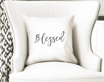 Blessed decorative pillow cover, optional insert, simple home decor