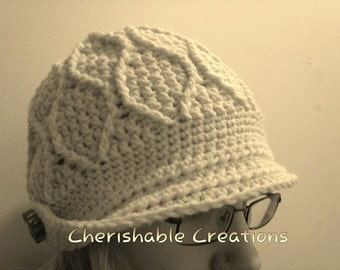CROCHET PATTERN: In and Out Newsboy - Instant Download