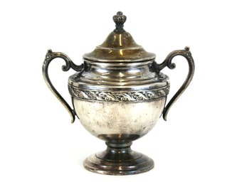 Vintage Rogers & Sons Silver Plated Lidded Sugar Bowl ( E7198)