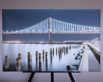 """21x33"""" Bay Bridge Night Scape Canvas"""
