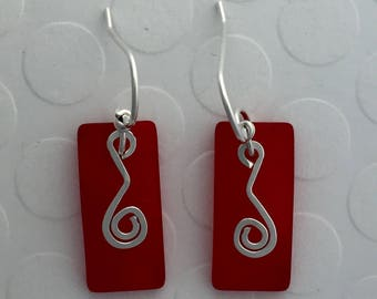Sterling Silver and Red Sea Glass Earrings, rectangular with swirls