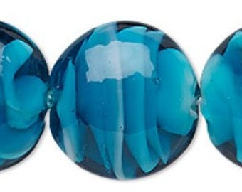Gorgeous Plump Dark Teal Green-Blue & White Lampwork Puffed Flat Round Beads 20mm 6pcs