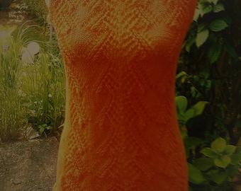 Knitted tunic, orange, Gr. 36-38 (S), US 10, UK 12