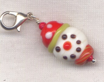 Snowman Stitch Marker Clip Winter Wonderland Lampwork Let It Snow Each/ SM12B