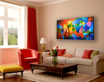 """Abstract Painting, Original Painting, Acrylic Painting, Abstract Landscape Geometric Art, Large Wall Art Textured Impasto Painting, 24x48"""""""