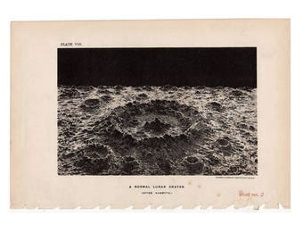 1891 ANTIQUE MOON CRATER - lunar crater print original antique celestial astronomy lithograph - lots of aging!