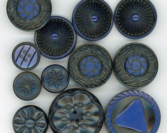 Black & Blue Sewing Buttons ~ Mixed Lot of 12 Vintage Buttons ~ Sets and Singles ~ 11/16 inch to 1-3/8 inch -or- 18mm to 35mm ~ Destash