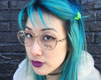 Vintage Unused 1980s Cheryl Tiegs POMO Eyeglasses Frames Burgundy w/ Wireframe Gold Glasses