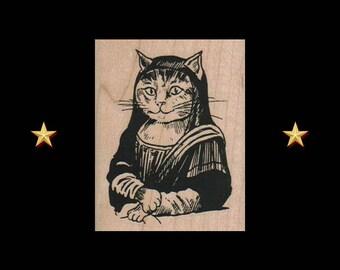 CAT Rubber Stamp, Mona Lisa Cat, Cat Face Rubber Stamp, Cat Costume Stamp, Cat Rubber Stamp, Cat Stamp, Cat Painting, Mona Lisa Art Stamp